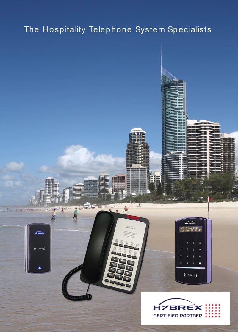 Hybrex phone systems on a Gold Coast beach background